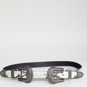 NEW ASOS SNAKESKIN DOUBLE BUCKLE WESTERN BELT S/M